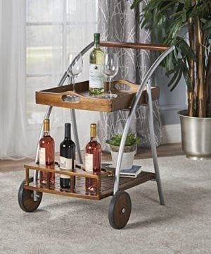 Crosby Indoor Farmhouse Cottage Dark Oak Acacia Wood Bar Cart 0 300x360