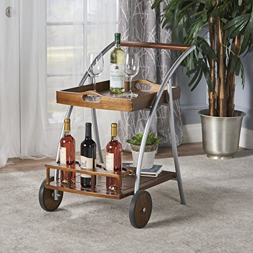 Crosby Indoor Farmhouse Cottage Dark Oak Acacia Wood Bar Cart 0