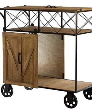 Crystal Art Gallery American Art Decor Farmhouse WoodMetal Barn Door Rolling Bar Cart 0 300x360