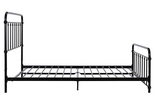 DHP Wallace Metal Bed Frame In Black With Vintage Headboard And Footboard No Box Spring Required Sturdy Metal Frame With Slats Weight Limit 450 Lbs Full Size 0 1