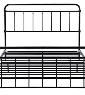 DHP Wallace Metal Bed Frame In Black With Vintage Headboard And Footboard No Box Spring Required Sturdy Metal Frame With Slats Weight Limit 450 Lbs Full Size 0 2 300x333