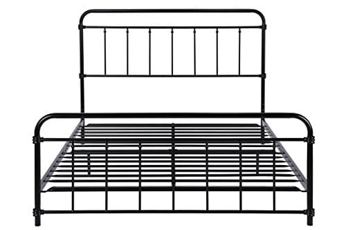 DHP Wallace Metal Bed Frame In Black With Vintage Headboard And Footboard No Box Spring Required Sturdy Metal Frame With Slats Weight Limit 450 Lbs Full Size 0 2
