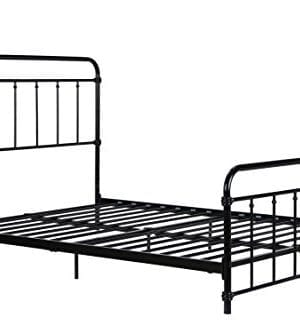 DHP Wallace Metal Bed Frame In Black With Vintage Headboard And Footboard No Box Spring Required Sturdy Metal Frame With Slats Weight Limit 450 Lbs Full Size 0 300x333