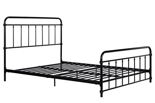 DHP Wallace Metal Bed Frame In Black With Vintage Headboard And Footboard No Box Spring Required Sturdy Metal Frame With Slats Weight Limit 450 Lbs Full Size 0