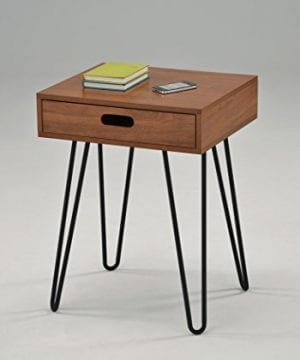 Dark Oak Finish Side End Table Nighstand Black Metal Legs With One Drawer 24H Mid Century Style 0 300x360