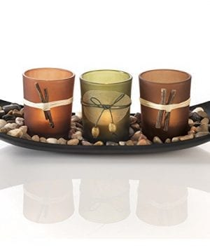 Dawhud Direct Natural Candlescape Set 3 Decorative Candle Holders Rocks And Tray 0 300x360