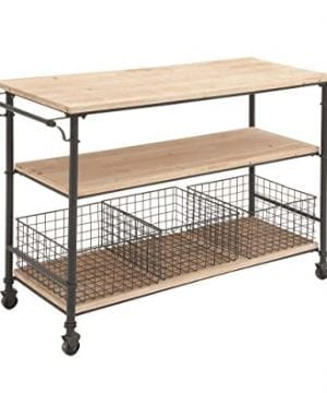 Deco 79 50203 Industrial Metal Wood Table Rolling Cart With Drawer Baskets 48 X 32 0 0 300x360