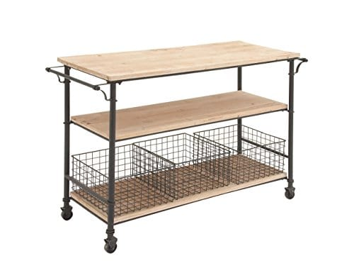 Deco 79 50203 Industrial Metal Wood Table Rolling Cart With Drawer Baskets 48 X 32 0 0