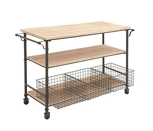 Deco 79 50203 Industrial Metal Wood Table Rolling Cart With Drawer Baskets 48 X 32 0
