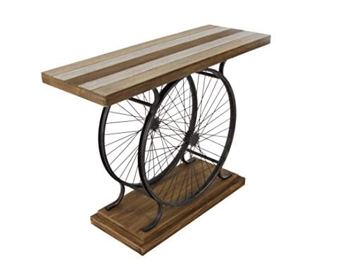 Deco 79 Metal And Wood Wheel Console BrownBlack 0 0