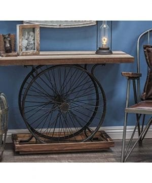 Deco 79 Metal And Wood Wheel Console BrownBlack 0 2 300x360