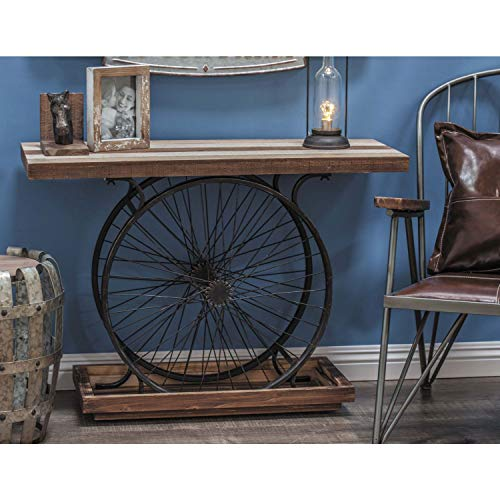 Deco 79 Metal And Wood Wheel Console BrownBlack 0 2