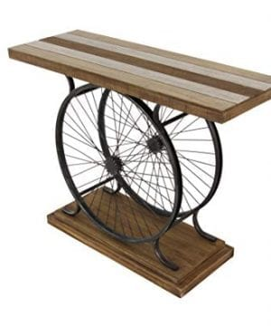 Deco 79 Metal And Wood Wheel Console BrownBlack 0 3 300x360