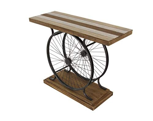 Deco 79 Metal And Wood Wheel Console BrownBlack 0 3