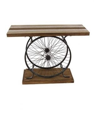 Deco 79 Metal And Wood Wheel Console BrownBlack 0 300x360