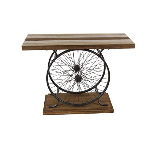 Deco 79 Metal And Wood Wheel Console BrownBlack 0