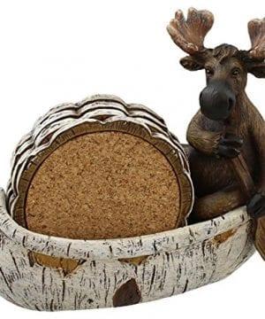 Decorative Moose Canoeing Coaster Set 4 Rustic Cork Coasters Holder Set 0 0 300x360
