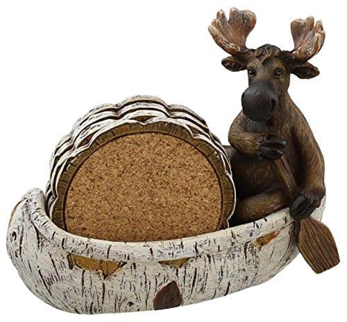 Decorative Moose Canoeing Coaster Set 4 Rustic Cork Coasters Holder Set 0 0