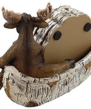 Decorative Moose Canoeing Coaster Set 4 Rustic Cork Coasters Holder Set 0 1 300x360