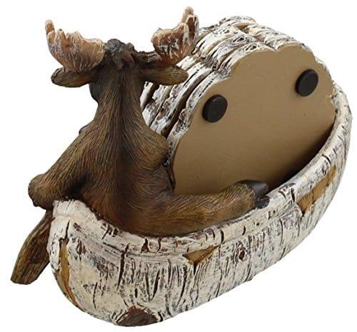 Decorative Moose Canoeing Coaster Set 4 Rustic Cork Coasters Holder Set 0 1