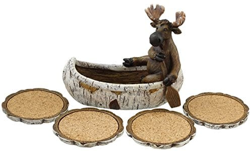 Decorative Moose Canoeing Coaster Set 4 Rustic Cork Coasters Holder Set 0