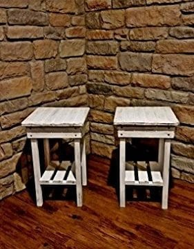 Distressed Night Stand Set White Distressed End Table Set Bed Side TablesRustic TableFarmhouse Side TableVintageWooden Table 0 2 281x360