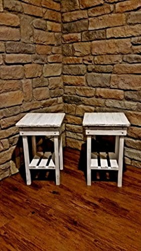 Distressed Night Stand Set White Distressed End Table Set Bed Side TablesRustic TableFarmhouse Side TableVintageWooden Table 0 2
