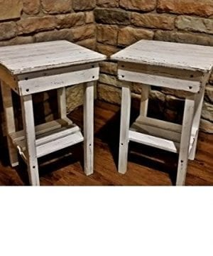 White Distressed End Table Set
