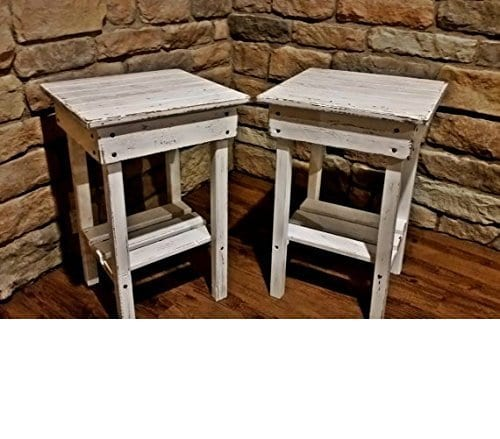 Distressed Night Stand Set White Distressed End Table Set Bed Side TablesRustic TableFarmhouse Side TableVintageWooden Table 0