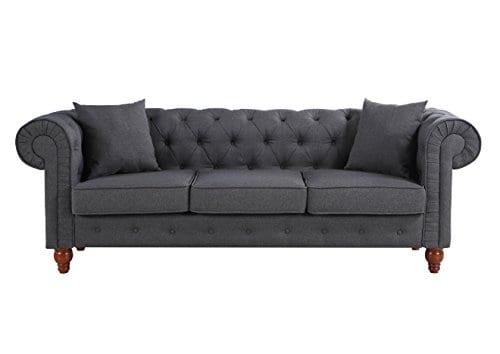 Divano Roma Furniture Classic Linen Fabric Scroll Arm Tufted Button