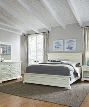 Dover White King Bed; Night Stand; with Dresser & Mirror-Parent