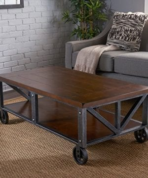 Dresden Industrial Dark Brown Faux Wood Coffee Table With Antique Black Iron Frame 0 0 300x360