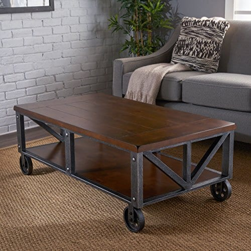 Dresden Dark Brown Faux Wood Coffee Table With Antique Black Iron Frame
