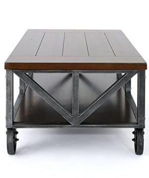 Dresden Industrial Dark Brown Faux Wood Coffee Table With Antique Black Iron Frame 0 1 300x360