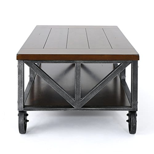 Dresden Industrial Dark Brown Faux Wood Coffee Table With Antique Black Iron Frame 0 1