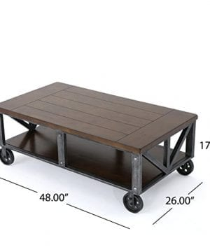 Dresden Industrial Dark Brown Faux Wood Coffee Table With Antique Black Iron Frame 0 2 300x360