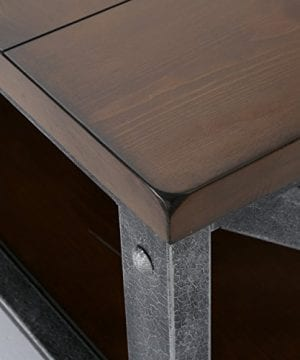 Dresden Industrial Dark Brown Faux Wood Coffee Table With Antique Black Iron Frame 0 3 300x360