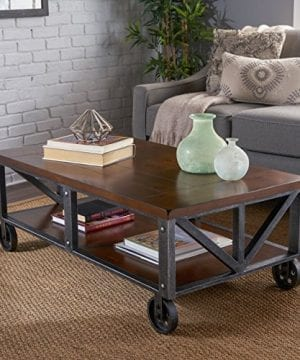 Dresden Industrial Dark Brown Faux Wood Coffee Table With Antique Black Iron Frame 0 300x360