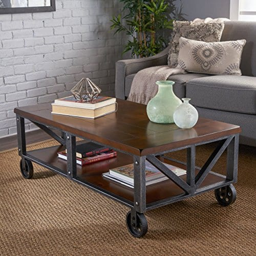 Dresden Industrial Dark Brown Faux Wood Coffee Table With Antique Black Iron Frame 0