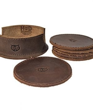 Durable Thick Leather Owl Coasters With Stitching 6 Pack Handmade By Hide Drink Bourbon Brown 0 0 300x360