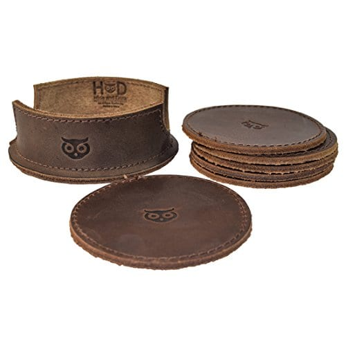 Durable Thick Leather Owl Coasters With Stitching 6 Pack Handmade By Hide Drink Bourbon Brown 0 0