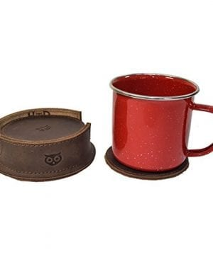 Durable Thick Leather Owl Coasters With Stitching 6 Pack Handmade By Hide Drink Bourbon Brown 0 1 300x360