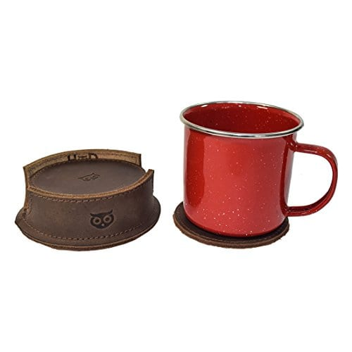 Durable Thick Leather Owl Coasters With Stitching 6 Pack Handmade By Hide Drink Bourbon Brown 0 1
