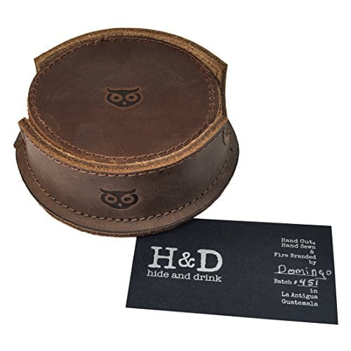 Durable Thick Leather Owl Coasters With Stitching 6 Pack Handmade By Hide Drink Bourbon Brown 0 2