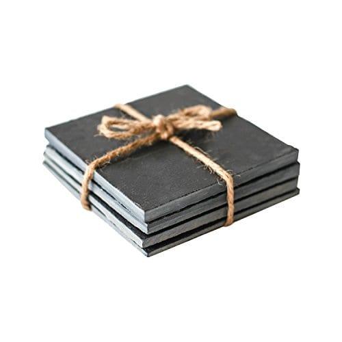 EMEMO SquareRound Slate Coasters And Plates Black 0