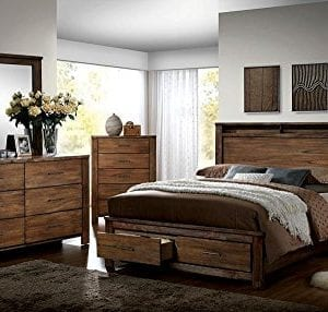 FA Furnishing Blake Rustic Storage Platform Queen Bed Oak Wood 0 0 300x286
