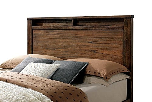 FA Furnishing Blake Rustic Storage Platform Queen Bed Oak Wood 0 1