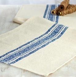 Farmhouse Muslin Feedsack Table Runner With Distressed Blue Stripe 72 L X 14 W 0 247x250