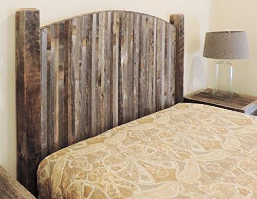 Farmhouse Style Arched King Bed Barn Wood Headboard WNarrow Rustic Reclaimed Wood Slats 0 2