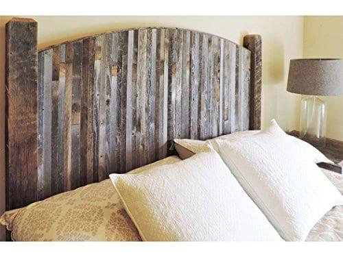 Farmhouse Style Arched King Bed Barn Wood Headboard WNarrow Rustic Reclaimed Wood Slats 0